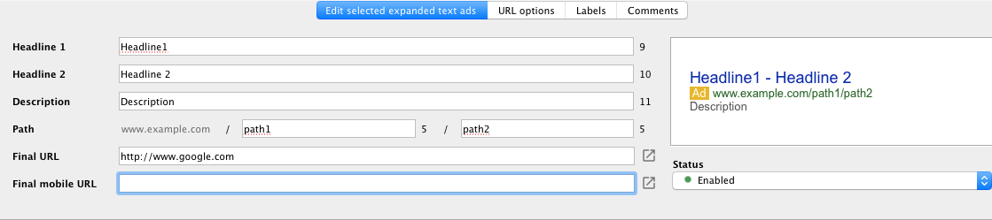 AdWords Editor 11.5 supports expanded text ads