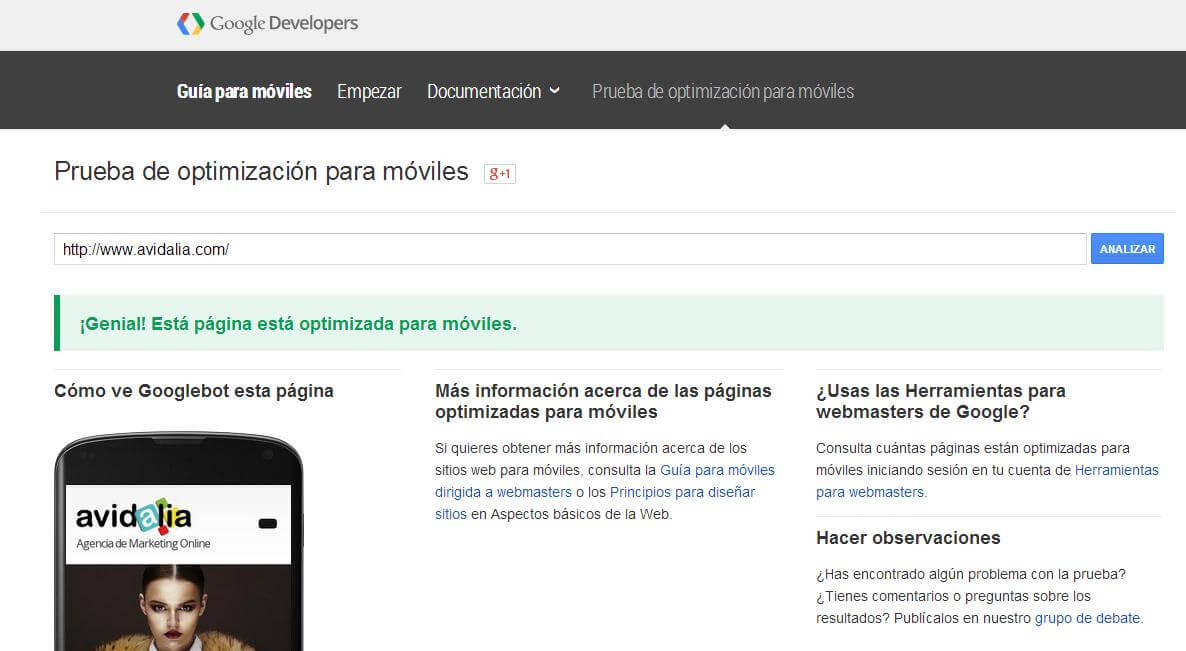 Página Web Optimizada Movil Google
